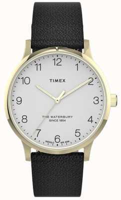 Timex | waterbury femminile | cinturino in pelle nera | quadrante bianco | TW2T75200