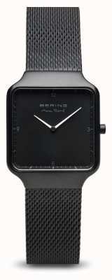 Bering | max rené | delle donne | cinturino in maglia di acciaio nero | quadrante nero 15832-123