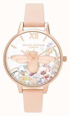 Olivia Burton | donne | giardino incantato | Ape 3d | cinturino in pelle color pesca | OB16EG151