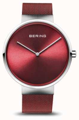 Bering | classico | argento lucido / spazzolato | braccialetto a maglie rosse | 14539-303
