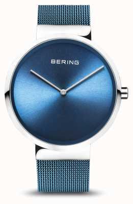 Bering | classico | argento lucido / spazzolato | braccialetto a maglie blu | 14539-308