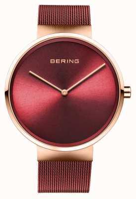 Bering | classico | oro rosa lucido / spazzolato | braccialetto a maglie rosse | 14539-363