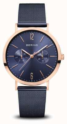 Bering | classico | oro rosa lucido | braccialetto a maglie blu | 14236-367