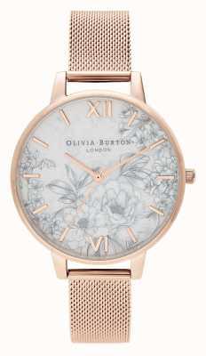 Olivia Burton | donne | terrazzo floreale | braccialetto a maglie in oro rosa | OB16TZ04