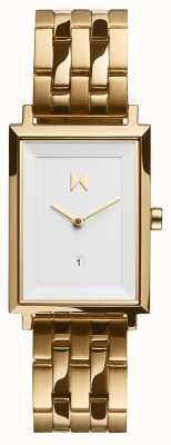 MVMT Piazza della firma | bracciale in acciaio placcato oro | quadrante bianco D-MF03-G