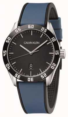 Calvin Klein | competizione maschile | cinturino in caucciù blu | quadrante nero | K9R31CV1