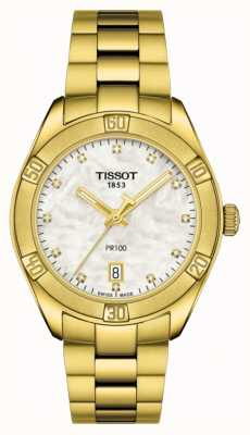 Tissot | pr 100 | quadrante in acciaio inossidabile placcato oro | madreperla T1019103311601