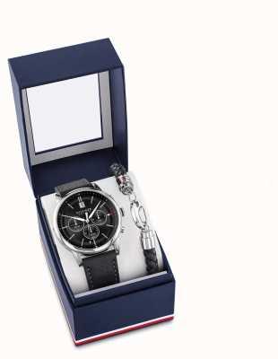 Tommy Hilfiger Set regalo orologio e bracciale da uomo in pelle nera kyle 2770058