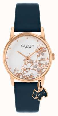 Radley Floreale Botanico | cinturino in pelle blu scuro | quadrante floreale argento | RY2880