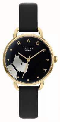 Radley Via del legno | cinturino in pelle nera | motivo cane quadrante nero | RY2876