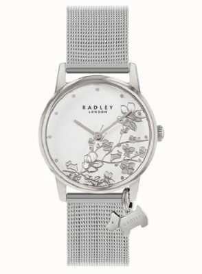 Radley Floreale Botanico | braccialetto a maglie d'argento | quadrante floreale bianco RY4401