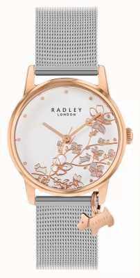 Radley Floreale Botanico | braccialetto a maglie d'argento | quadrante floreale bianco RY4399