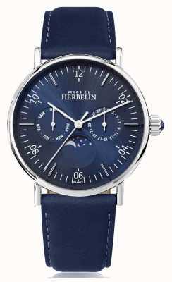 Michel Herbelin Cinturino in pelle blu fasi d'ispirazione Montre 12747/AP15BL