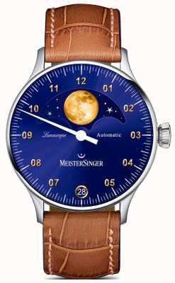 MeisterSinger Lunascope | quadrante blu | cinturino in pelle marrone LS908G