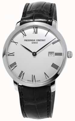 Frederique Constant Mens | linea sottile | automatico | pelle nera | quadrante argentato FC-306MR4S6
