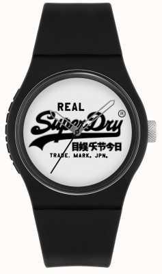 Superdry Originale urbano | cinturino in silicone nero | quadrante bianco | SYG280BW