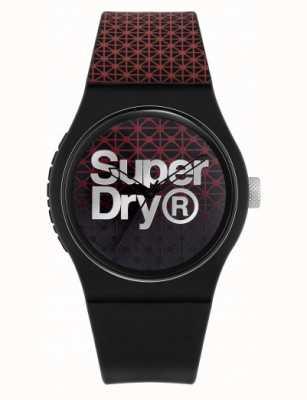 Superdry Geo sport urbano | cinturino in silicone nero / rosso | quadrante nero / rosso SYG268R