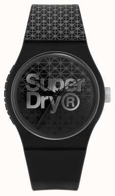 Superdry Geo sport urbano | cinturino in silicone nero / grigio | quadrante nero / grigio SYG268B