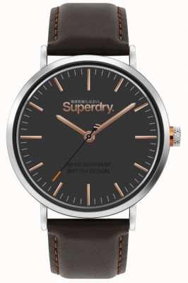 Superdry Oxford | cinturino in pelle marrone | quadrante marrone | SYG287BR