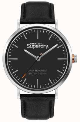 Superdry Oxford | cinturino in pelle nera | quadrante nero | SYG287B