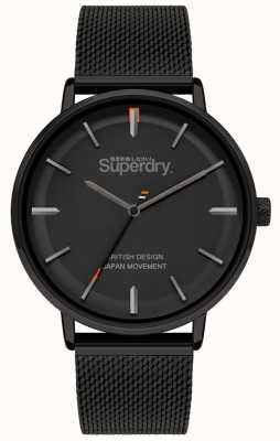 Superdry Ascot xl | braccialetto a maglie nere | quadrante nero | SYG284BM