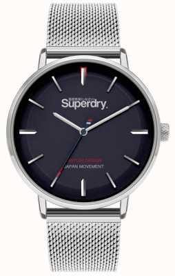 Superdry Ascot xl | braccialetto a maglie d'argento | quadrante blu | SYG284SM