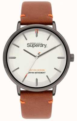 Superdry Ascot xl | cinturino in pelle marrone chiaro | quadrante grigio | SYG283T