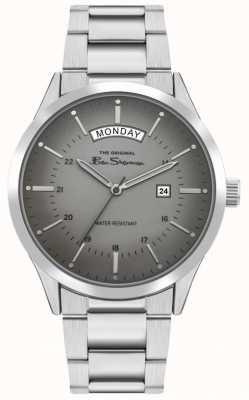 Ben Sherman Bracciale da uomo in acciaio inossidabile argento | quadrante grigio | BS022SM