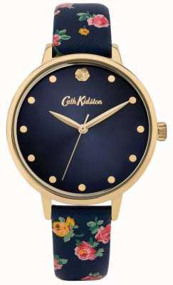 Cath Kidston | cinturino in pelle floreale blu navy da donna | quadrante blu | CKL089U