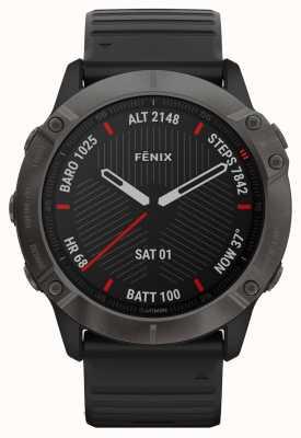 Garmin Fenix 6x pro sapphire | dlc grigio carbonio | cinturino in caucciù nero 010-02157-11