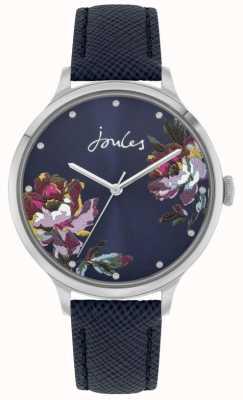 Joules Payton femminile | cinturino in pelle blu | quadrante floreale blu | JSL021U