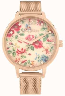 Cath Kidston Pembroke rose | braccialetto a maglie in oro rosa | quadrante floreale | CKL085RGM