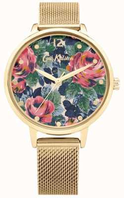 Cath Kidston Pembroke rose | bracciale a maglie d'oro | quadrante floreale | CKL085GM