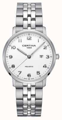 Certina | ds caimano | bracciale in acciaio inossidabile argento quadrante bianco C0354101101200