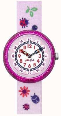 Flik Flak | colori autunnali | cinturino con stampa rosa | quadrante bianco / rosa | FBNP093