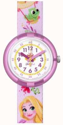 Flik Flak | disney rapunzel | cinturino con stampa rosa | quadrante bianco | FLNP028