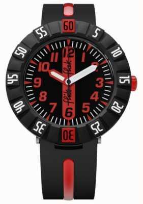 Flik Flak | avanti rosso | cinturino in plastica nera | quadrante nero / rosso | FCSP079