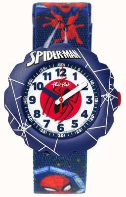 Flik Flak | Spider-Man in azione | cinturino in tessuto blu con stampa | FLSP012