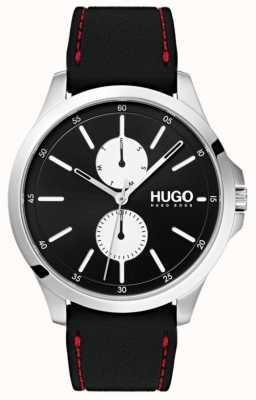 HUGO #jump | cinturino in caucciù nero | quadrante nero | 1530001
