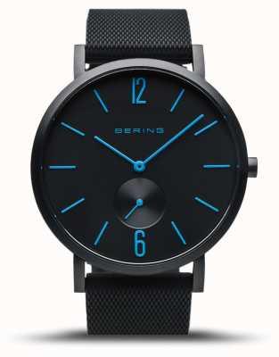Bering | vera aurora | cinturino in caucciù nero | quadrante nero | mani blu 16940-499