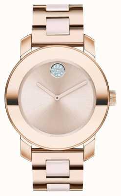 Movado Grassetto | braccialetto placcato in oro rosa | quadrante oro rosa | 3600639