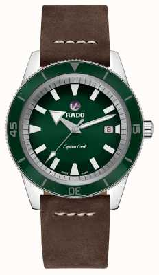 "Rado Quadrante verde con cinturino in pelle marrone ""captain cook"" xl R32505315"