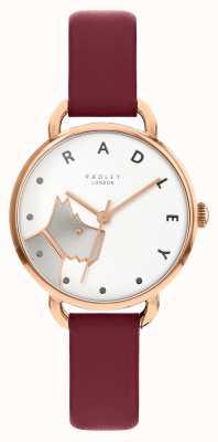 Radley | strada da donna in legno | cinturino in pelle merlot | quadrante cane bianco RY2874