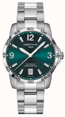 Certina Ds podium 40mm | bracciale in acciaio inossidabile quadrante verde | C0344511109700