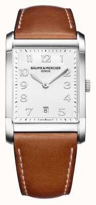 Baume & Mercier Mens hampton | cinturino in pelle marrone | quadrante bianco BM0A10153