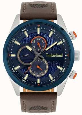 Timberland | vista da uomo | cinturino in pelle marrone | quadrante blu | 15953JSTBL/03