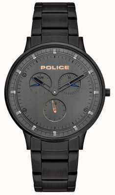 Police | berkeley maschile | bracciale in acciaio nero | quadrante grigio | 15968JSB/39M