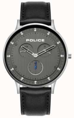 Police | berkeley maschile | cinturino in pelle nera | quadrante grigio | 15968JS/39