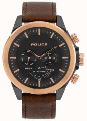 Police | belmont maschile | cinturino in pelle marrone | quadrante nero | 15970JSUR/02