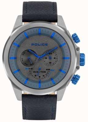 Police | belmont maschile | cinturino in pelle blu | quadrante blu / grigio | 15970JSU/61